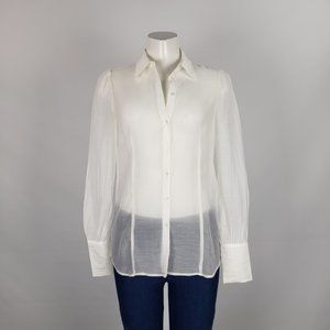 Mexx Metropolitan White Gauzy Button Up Top Size 8